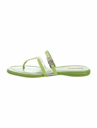 Prada Sport Leather Flip Flops Green