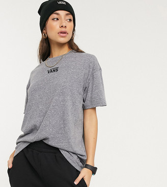 Vans Oversized chest logo t-shirt in grey Exclusive at ASOS