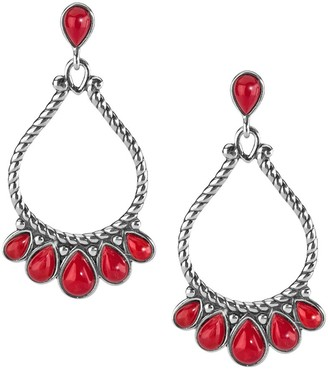 American West Sterling Red Coral Large Pear Shaped Earrings