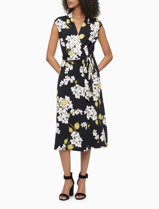 Calvin Klein Printed V-Neck Belted Cap Sleeve Wrap Dress