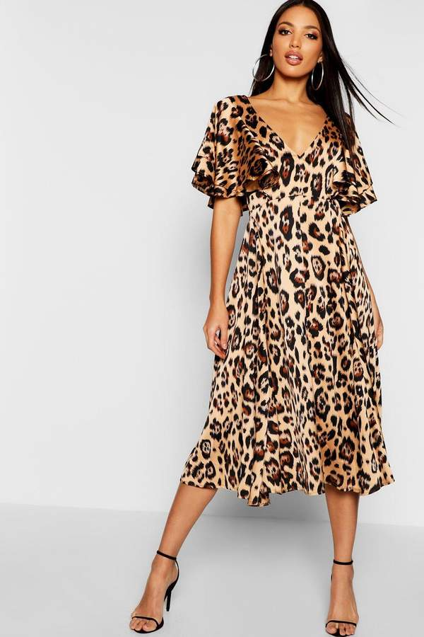 boohoo Leopard Matte Satin Ruffle Angel Sleeve Midi Dress