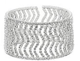 Cezanne Rhinestone Zigzag Open Cuff Bracelet
