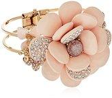 Betsey Johnson Marie Antoinette Large Pave Flower Hinged Bangle Bracelet