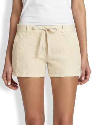 Genetic Denim Olivia Textured Stretch Cotton Drawstring Shorts
