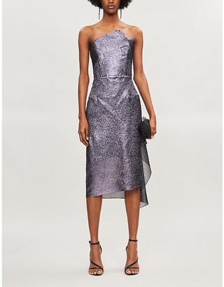Roland Mouret Flynn strapless metallic silk-blend midi dress