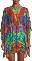 Luli Fama Button-Keyhole Caftan Dress