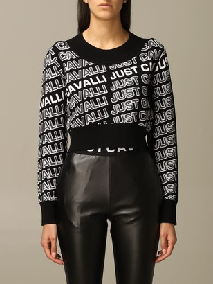 Just Cavalli Sweater Cropped Pullover With All Over Logo