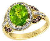LeVian Peridot, Chocolate Diamond, Vanilla Diamond and 14K Yellow Gold Ring
