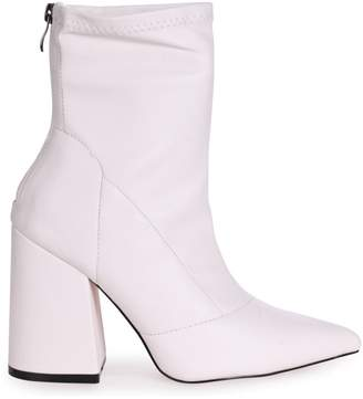 Linzi KITTY - White Soft Faux Leather Pointed Block Heel With Back Zip