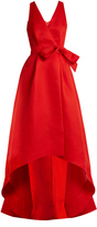 Oscar de la Renta Cut-out back wrap-front silk-gazar gown