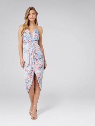 Forever New Summer Knot Front Maxi Dress - Blue Based Print - 4