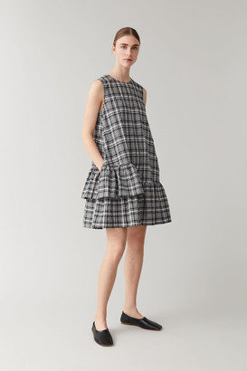 Cos Checked Cotton Seersucker Dress