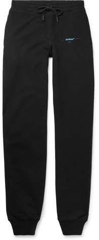 Off-White Tapered Logo-Print Fleece-Back Cotton-Jersey Sweatpants