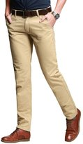 RUAYE Men's Slim Straight Cotton Flat Front Casual Pants