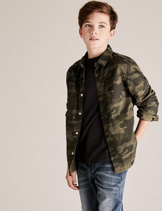 Marks and Spencer Pure Cotton Camo Hooded Shirt and T-Shirt (6-14 Yrs)