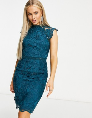 Chi Chi London cap sleeve lace midi dress in teal