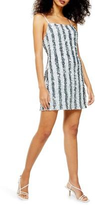 Topshop Stripe Sequin Cocktail Slip Dress