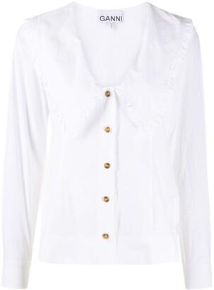 Ganni Bib Collar Poplin Frill Shirt