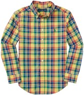 Polo Ralph Lauren Poplin Plaid Long Sleeve Button Down Shirt (Big Kids)