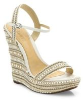 Schutz Carminda Leather Trimmed Platform Wedge Sandals