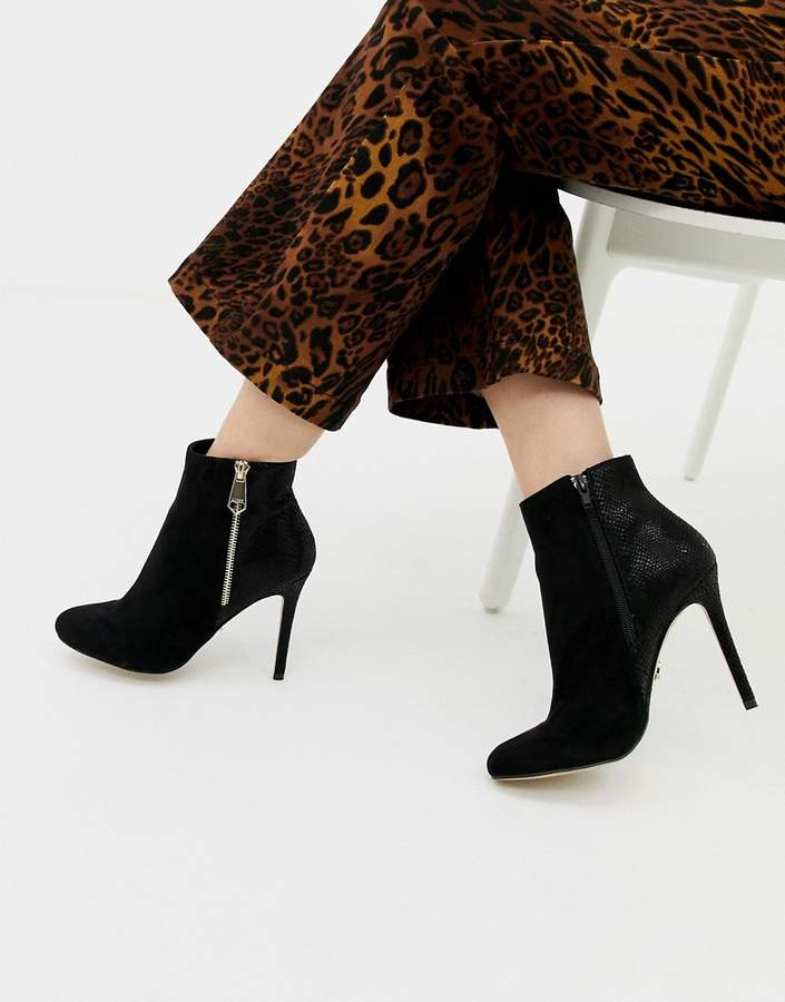 0263a0c7abb zip up heeled ankle boot in black