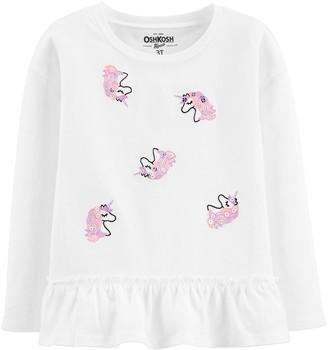 Osh Kosh Toddler Girl Embroidered Peplum Top