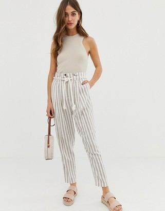 ASOS DESIGN gutsy linen tapered pants with rope belt in stripe