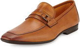 Magnanni Square-Toe Slip-On Leather Loafer, Cognac