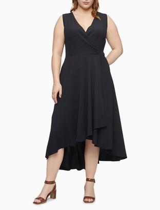 Calvin Klein Plus Size Solid Wrap V-Neck Sleeveless Maxi Dress