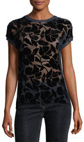 Theory Crewneck Cap-Sleeve Floral Burnout Top