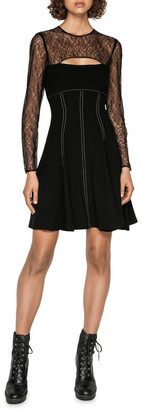 Cue Corded Mesh Long Sleeve Dress