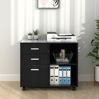 Ebern Designs Newfields 3-Drawer Mobile Lateral Filing Cabinet Color: Black