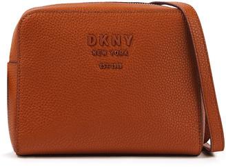 DKNY Logo-appliqued Pebbled-leather Shoulder Bag