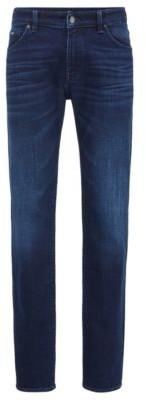 HUGO BOSS Regular Fit Jeans In Mid Blue Italian Denim - Dark Blue