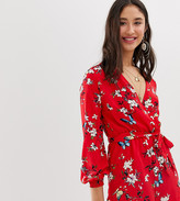 Parisian Tall long sleeve tie waist romper in red floral print