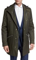 HUGO BOSS Denny Twill 3/4-Length Water-Repellant Parka, Olive