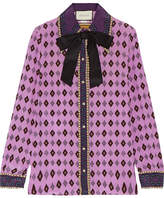 Gucci Bow-embellished Printed Silk Crepe De Chine Shirt - Lavender