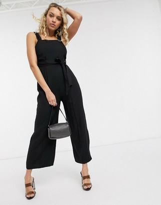 Topshop jumpsuit with tie waist in black