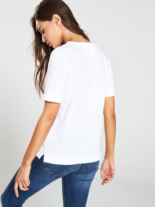 Whistles Rosa Double Trim T-Shirt - White