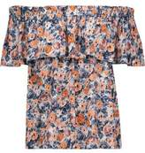 Current/Elliott The Ruffle Off-The-Shoulder Floral-Print Gauze Top