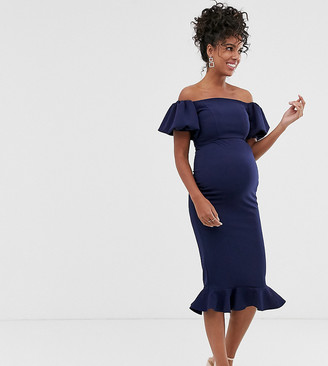 Queen Bee Maternity off shoulder puff sleeve dipped hem midi dress in navy