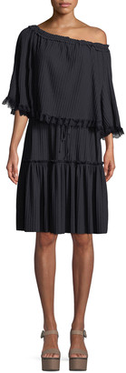 See by Chloe Tiered Plisse Self-Tie Shift Dress