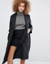 Helene Berman Becca Tie Waist Coat in Charcoal