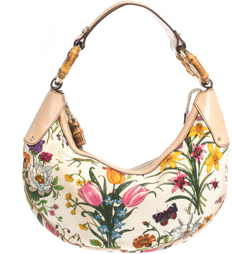 Gucci Multicolor Botanical Floral Canvas and Leather Bamboo Ring Hobo