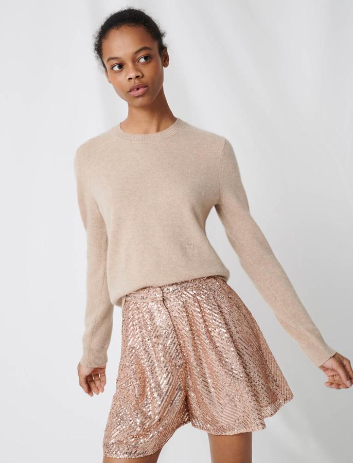 Maje Cashmere jewel-neck sweater