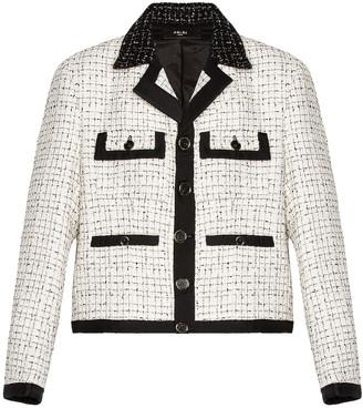 Amiri Boucle Cropped Jacket in White & Black | FWRD
