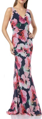 Carmen Marc Valvo Floral Chiffon Mermaid Gown