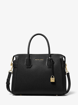 Michael Kors Mercer Medium Pebbled Leather Belted Satchel