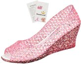 Donalworld Girl Summer Peep-Toe Wedge Jelly Shoes Plastic Rain Sandals Asian Size 40