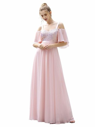 Ever Pretty Ever-Pretty Women's Cold Shoulder Short Sleeves Chiffon Empire Waist Maxi Evening Dresses Pink 14UK